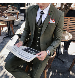 $enCountryForm.capitalKeyWord Australia - Korean Suits for Men Suits for Wedding Latest Coat Design Green Tuxedo Slim Fit Men with Pants Formal Ternos Costume Homme