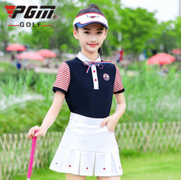 stitched girls shirts NZ - 2019 New Style children's golf sportswear tops girls youth summer striped stitching short-sleeved T-shirt breathable Quick Dry