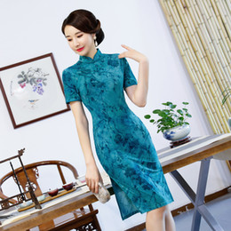 24e27f52038 Simple elegant high quality plus size short sleeve velvet printed red blue  short cheongsam daily qipao party dress evening dress
