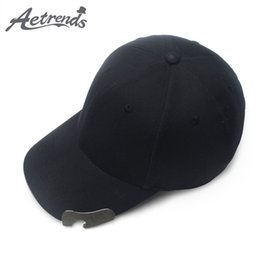 wholesale polo fashion sport NZ - [AETRENDS] 2018 Fashion Cap Men Black Baseball Cap with Bottle Opener for Decoration Outdoor Sports Caps Polo Golf Hat Z-6576