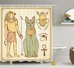 $enCountryForm.capitalKeyWord Australia - Egyptian Decor Shower Curtain Set, Graphic of Ancient Egyptian Religious Icons with Cat Figure in Retro Style, Bathroom Accessories
