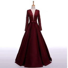 $enCountryForm.capitalKeyWord NZ - 2019 New Arrival Lace Top Burgundy Bow Pearls Party Dresses Sheer Back Vintage Prom Gowns Fast Shipping Cheap Long Sleeve Evening Dresses