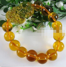 Discount crystals for feng shui - Free shipping NEW Feng Shui Citrine Yellow Crystal Pi Yao Pi Xiu Xie Bracelet For Wealth 14mm