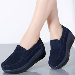 $enCountryForm.capitalKeyWord Australia - 2019 Spring Women Flat Shoes Loafers Suede Ladies Shoes Leather Hollow Platform Slip On Flats Bottom Moccasins Creepers