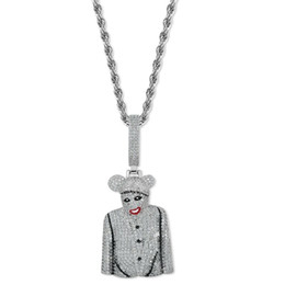 Wholesale hip hop clown diamonds pendant necklaces for men luxury crystal pendants copper zircons platinum plated silver chains necklace