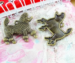 $enCountryForm.capitalKeyWord NZ - 50pcs 29.5*27.5MM Antique bronze tibetan alloy Poodle dog charms for bracelet vintage metal pendant for earring handmade DIY jewelry making