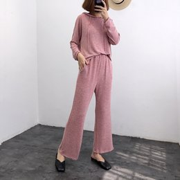 Korean sweater pants online shopping - Autumn Korean Women S Sweater Casual Trousers Two Piece Trousers Casual Set