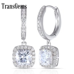 cushion f NZ - Transgems 14k 585 White Gold 2.8ctw 6mm F Color Square Cushion Cut Moissanite Halo Hoop Earrings With Accents For Women Y19061203