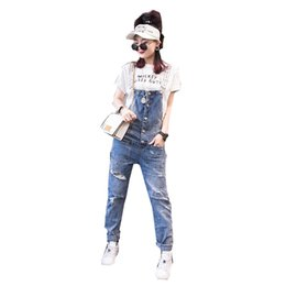 $enCountryForm.capitalKeyWord UK - Denim Rompers Women Jumpsuit 2019 Spring Loose Letters Strap Pants Ladies Casual Trousers Hole Washed Smalle Feet Pants TY014