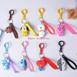 Wholesale Pendant Sets NZ - 8pcs Set KPOP Cartoon Korean Fashion Key Holder Bag Pendant Accessories Acrylic Cell Phone Keyring Jewelry Gift for Bts Fans