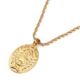 gold virgin mary pendant NZ - Virgin Mary Necklaces Gold Color Madonna Child Pendant Necklaces Catholic Religious Jewelry