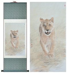 Silk Painting Fashion Australia - Lioness Silk Art Painting Chinese Art Painting Home Office Decoration Chinese Lioness Painting1906151532