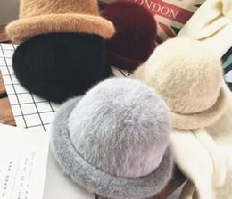 Discount girls cloche hats - Women Bowler Winter Hat Fedora Bucket Cloche Round Cap Vintage Fashion elegant girls Lady Warm hat