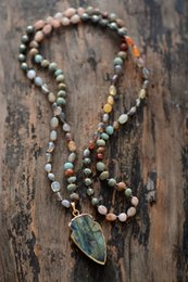 Wood Stone Necklace Australia - Boho Random Shape Natural Stone Strawberry Quartz Pyrite Labradorite Pendant Necklace Women Bead Lariat Necklace Dropship J190517