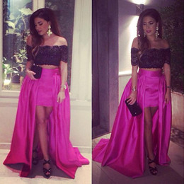 Dubai Dresses Designs online shopping - Black and Fuchsia Hi Low Prom Dresses Off The Shoulder Dubai Arabic Design Short Sleeves Celebrity Evening Gowns Party Dress