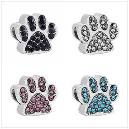 $enCountryForm.capitalKeyWord NZ - Dog Paw Print Beads Fit Women Charms Alloy CZ Original Bracelet & Bangle DIY Crystal Bear Claw Beads Handmade Making Jewelry Accessories