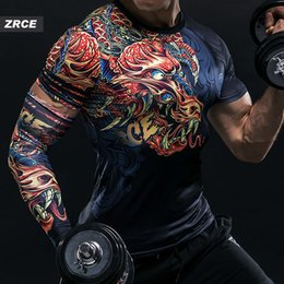 2019 ZRCE Brand Clothing 3D Printing Compression Shirts Chinese Dragon With Single sleeve Fashion Fitness Hip Hop Men'S T-Shirt