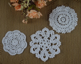 White Cotton Napkins Australia - Wholesale 3 Design Handmade Crocheted Doilies Cotton Table Napkin pad Round Mats White Coasters for wedding home decoratio 10-12CM 30pcs LOT