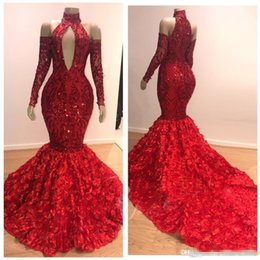 Red Dress Draped Back Australia - Charming Red Prom Dresses 2019 Ruched Rose Long Train Mermaid Evening Dress High Neck Off Shoulder Long Sleeves Party Dress Zipper Back