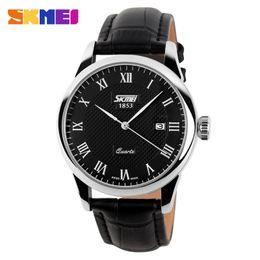 Mens Military Wrist Watches Australia - SKMEI Genuine Leather Strap Men Fashion Clock Mens Casual Quartz Watches Reloj Para Hombre Military Army Waterproof Wrist Watch