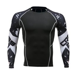 Mens Compression Gear NZ - Mens Fitness Long Sleeves Rashguard T-shirt Men Bodybuilding Skin Tire Heat Compression Shirts Mma Crossfit Workout Top Gear