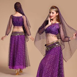 indian belly dance dress 2019 - Luxury Indian Dance Costumes Sets Stage Performances Dress Orientale Belly Dance Costume Set For Women Oriental Costumes
