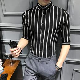 a768b1a07f YASUGUOJI New 2019 Summer Fashion Slim Fit Shirt Men Non Iron Half-sleeve Shirts  Black and White Vertical Striped Shirts for Men