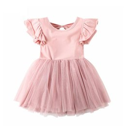 kids princess velvet clothes UK - Vieeoease Girls Dress Bow Kids Clothing 2019 Spring Fashion Sleeveless Vest Lace Princess Tulle Dress CC-180