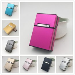 Automatically Open Magnetic Buckle 20 Cigarettes box holder metal cigarette Storage Tobacco Case Container Holder 8 Colors Choose on Sale