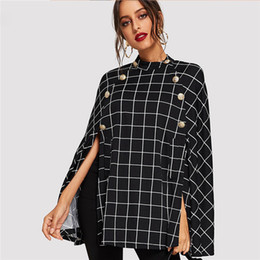 $enCountryForm.capitalKeyWord NZ - Black Highstreet Office Lady Double Button Mock Poncho Solid Elegant Coat 2019 Autumn Women Workwear Outerwear Clothes
