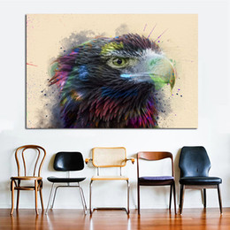 decorative painting frames NZ - 1 Piece Watercolor Hawk Wall Decorative Pictures Prints And Posters Canvas Painting For Living Room Colorful Animals Wall Art Print No Frame