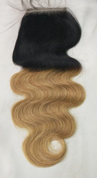 parting closure ombre Australia - 8A Ombre 1B 27# Blonde Brazilian Virgin Human Hair Lace Closure Body Wave Closures 4x4 Size Free Middle 3 Way Part Brazilian Lace Closure