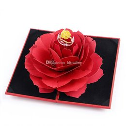 Gift box samples online shopping - Foldable Rose Ring Box For Women Romantic propose Creative Jewelry Storage Case Small Gift Box For Rings C6372