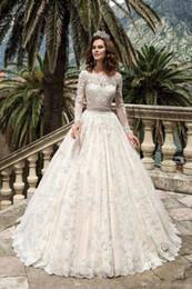$enCountryForm.capitalKeyWord Australia - 2019 Gorgeous Full Sleeves Lace Wedding Dresses Princess Pink Sash A Line Wedding Dresses Custom Made Vintage Bridal Outdoor DH228