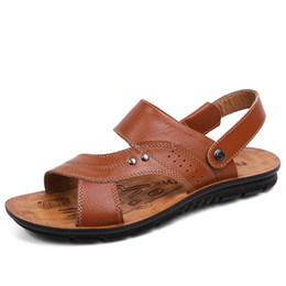 $enCountryForm.capitalKeyWord Canada - Hot Sale Men's Sandals Genuine Leather Men Summer Shoes Leisure Slippers Flip-Flops Men Comfortable Footwear Soft Sandal