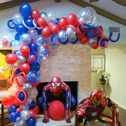 party decoration kits NZ - Giant Spider 3D man Foil Balloons Red Blue Latex Arch Kit Garland Balloon Birthday Party Decorations Kids Boy superhero Toy ball T200624