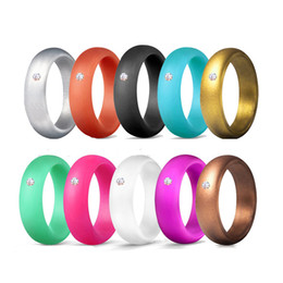 Silicon jewelry online shopping - DHL fast shipping girls fashion silicon rings with rhinestone packed mix color lady women jewelry ring