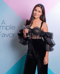 Black See Through Lace Jumpsuit Australia - High Quality Lace See-through Backless Lantern Sleeve jumpsuits Sexy Women Night Club Spaghetti Strap Black Jumpsuit Wholesale