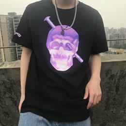 V neck shirts men online shopping - 19SS Big V Screw Head T Shirt Fashion Cotton Looses Kull Screw Print Men And Women High Quality Black T shirt HFBYTX303