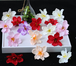 hair flowers clips orchid UK - Artificial Flower Orchid Head For Bride Hair Clip Xmas Brooch Craft Wedding GB571