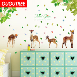 chinese famous paintings Australia - Decorate Home trees bird deer cartoon art wall sticker decoration Decals mural painting Removable Decor Wallpaper G-1622