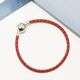 Sterling Silver Red Rope Bracelet NZ - Women Red Leather Hand Chain Ball Clips Bracelet Logo Original box for Pandora 925 Sterling Silver Charms Bracelet with Retail box