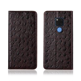 Mate Genuine Leather Australia - Ostrich Texture Phone Case For Huawei Mate 20 X Genuine Cowhide Leather Flip Card Phone Case For Huawei Mate 20X Case Stand Coque