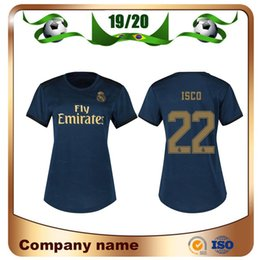 Wholesale 2019 Real Madrid Woman Away Black HAZARD Soccer Jersey ASENSIO ISCO lady shirt KROOS MARCELO Girl Football uniforms
