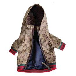 venda por atacado Carta Padrão Pet Jackets clássico bordado Primavera Retro Pet Coats Outdoor Personalidade Charme peluche Schnauzer Roupas