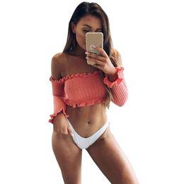 Long Sleeve Tees For Women Australia - Sexy Off The Shoulder Tops For Women T Shirt Female Autumn Winter Fashion Long Petal Sleeve Crop Top Tees Cotton T -Shirt