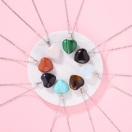 $enCountryForm.capitalKeyWord Australia - Natural stone Heart Shape pendant Love Symbol crystal necklace sweater chain Jewelry 8 types for Choice The Youth Favorite Pedants