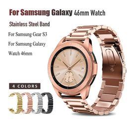 $enCountryForm.capitalKeyWord Australia - 22mm Width Wristband Stainless Steel Watch Band For Samsung Galaxy 46mm Strap Metal Three link strap For Samsung Gear S3 classic smart watch