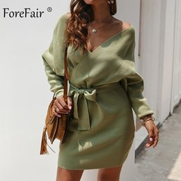 Long wrap sweaters online shopping - Forefair Sexy Bodycon Wrap Sweater Dress Women Autumn Long Sleeve Sashes Tied Mini Casual Cotton Knitted Winter Dress