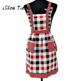 Wholesale Plaid Apron Women Lady Restaurant Home Kitchen Pocket Cooking Cotton Blend Bib Home Textiles Breech Cloth